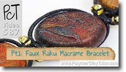 Faux Rainbow Raku Macrame Bracelet - Polymer Clay Tutor