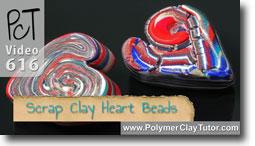 Scrap Clay Heart Beads - Polymer Clay Tutor