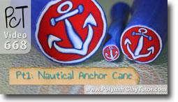 Nautical Anchor Cane - Polymer Clay Tutor